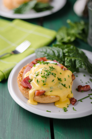 Egg benedict delish food, crispy bacon, food stock, food photography