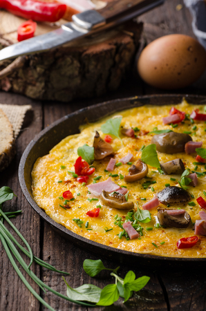 Fresh omelette, pickles mushrooms and chilli, herbs on top