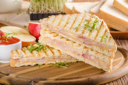 Panini cheese ham toast Stock Photo - 103242832