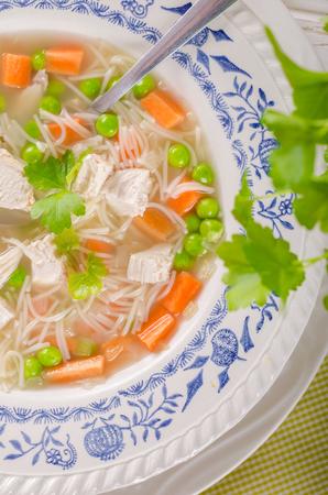 Spring chicken soup noodles Banque d'images - 103242921