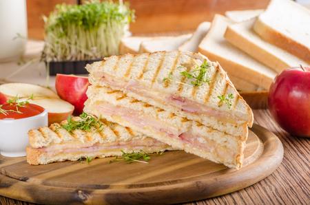 Panini cheese ham toast Stock Photo - 103243208