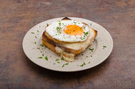 Croque madame sandwich, delish food Stock Photo
