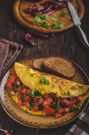 Vegetarian omelette, fried bread, filled with vegetable and cheese