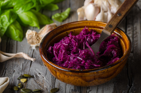 REd cabbage salad food photography, delish salad with herbs
