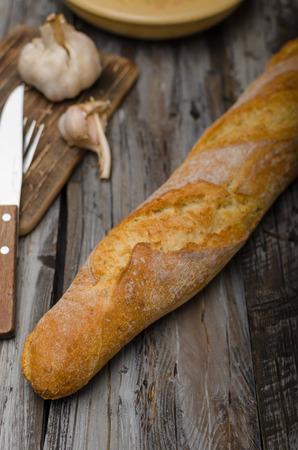 Fresh baguette delish crispy, food photography, vintage food stock Banque d'images - 108749007