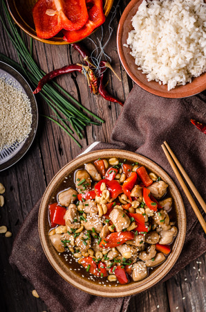 Delish food, rice, fresh red pepper and chili, food photography Stock Photo