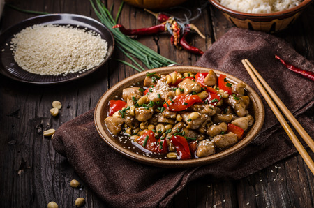 Delish food, rice, fresh red pepper and chili, food photography Reklamní fotografie