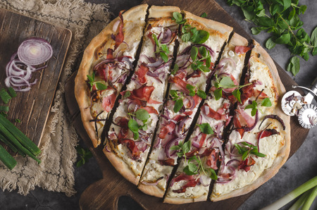 Homemade simple food with ham, fresh herbs and red onion Stock Photo - 118383653
