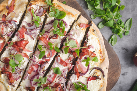 Homemade simple food with ham, fresh herbs and red onion Stock Photo - 118383745