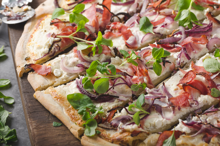Homemade simple food with ham, fresh herbs and red onion Stock Photo - 118383794