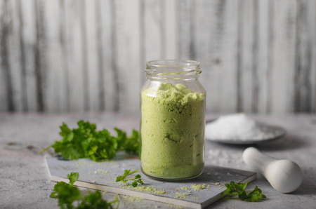Delish combination coarse-grained salt, fresh herbs mixed together Stock Photo