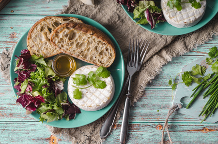 Delicious cheese, fresh salad and herbs with honey Imagens - 121517189