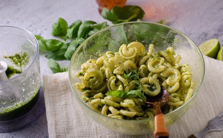 Delish simple food, semolina pasta with basil nuts pesto