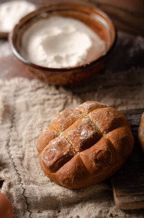 Delicious rye pastry buns, fresh and salty