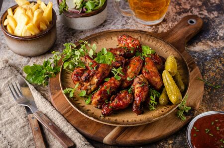 Spicy chicken wings with barbecue sauce, delicious and simple food Reklamní fotografie