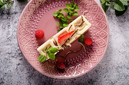 Delicious and tasty chocolate dessert with white chocolate, fresh berries and herbs on crispy biscuit