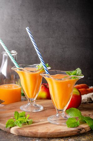 Delicious smoothie with fresh fruit, ready to drink