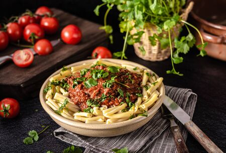 Delicious pasta with bolognese sauce with beef meat