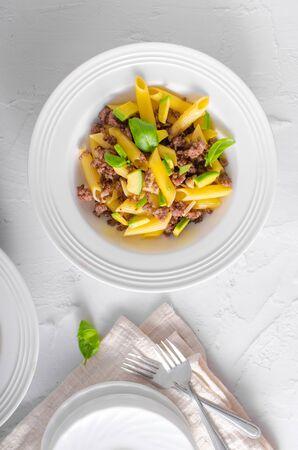 Bio organic avocado and garlic in semolina pasta, fresh beef meat Фото со стока - 134216551
