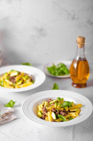 Bio organic avocado and garlic in semolina pasta, fresh beef meat Фото со стока - 134216553