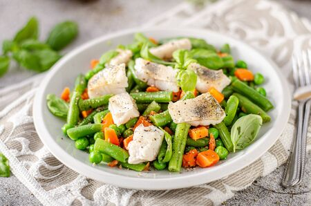 Simply and beautiful salad with fresh fish