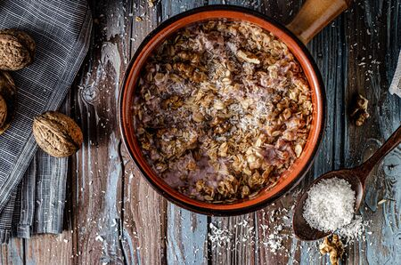 Deliciou homemade nuts granola with coconut and honey