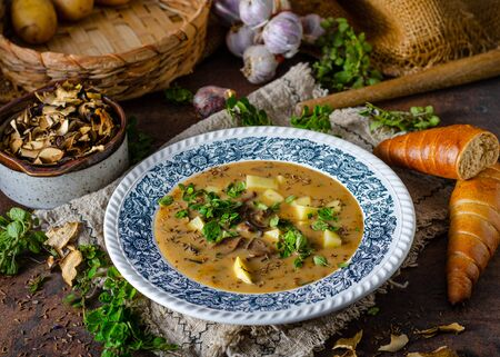 Delicious soup with forest mushrooms, potatoes and herbs with crispy pastry 스톡 콘텐츠
