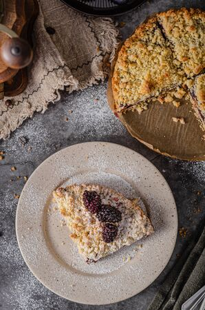 Simple and delicious pie with blackberries