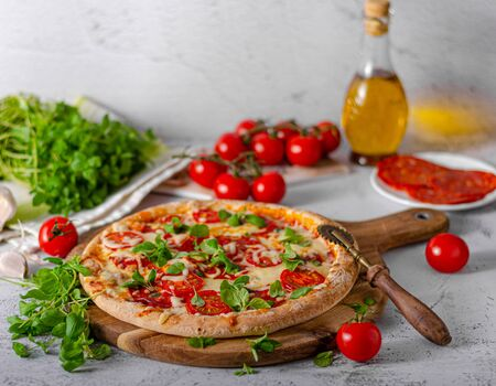 Delicious simple pizza with tomatoes, mozzarella and herbs