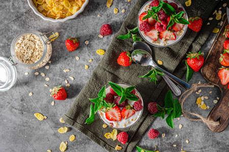 Delicious granola with strawberries and raspberries, bio homemade yogurt