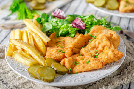 Tender schnitzel with fresh salad, tomatoes and french fries