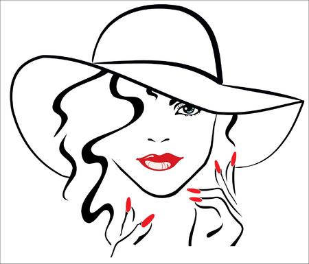 빨간 입술과 모자를 착용하는 빨간 손톱을 가진 여자 일러스트