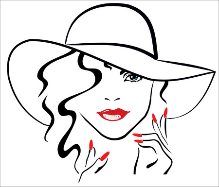 finger nails: woman with red lips and red nails wearing hat Illustration