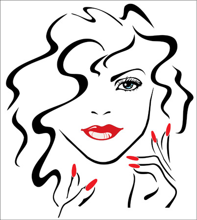 lips: Woman with red lips and red nails