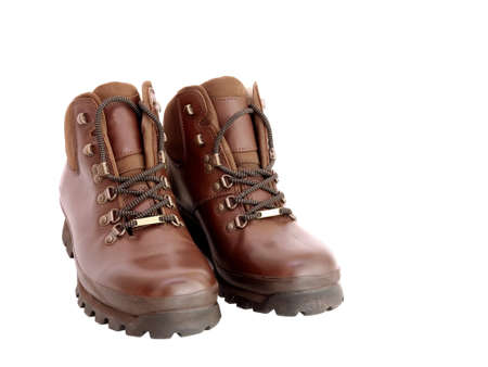 hillwalking: Pair of new brown leather walking boots isolated on white Stock Photo