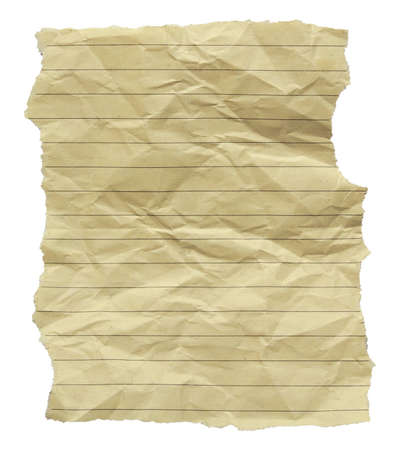 yellowed: A piece of yellowed, crumpled and torn note paper for background Stock Photo