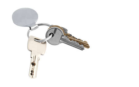 fob: A set of keys of various types with metal keyring and fob