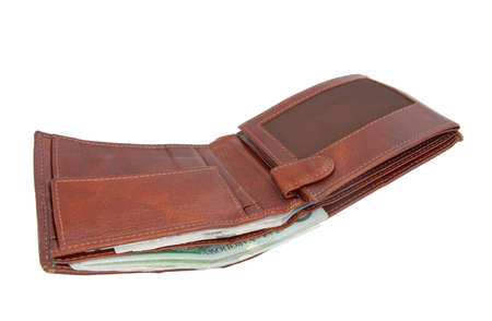An open brown leather wallet with bank notes visible photo