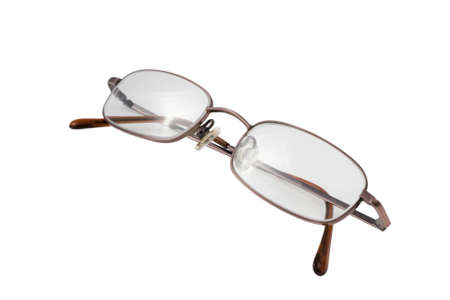 A pair of wire-rimmed spectacles isolated on a white background 스톡 콘텐츠