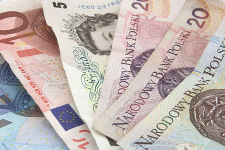 dosh: A selection of European bank notes including British pounds sterling, Polish Zloty and Euros