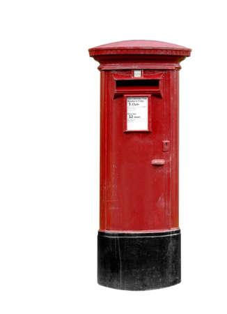 red post box: Classic British post  pillar box isolated on white