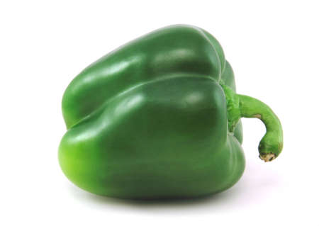 isilated: A green pepper isilated against a white background Stock Photo