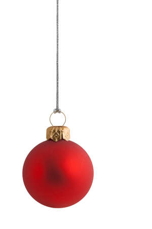 bauble: plain red christmas bauble with gold clasp and silver string