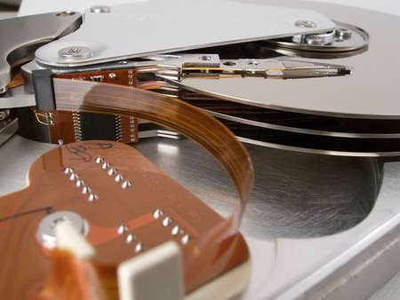 gigabytes: Detail of the inside of a computer hard disc unit