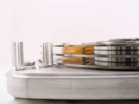 megabytes: Detail of the inside of a computer hard disc unit