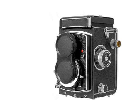 Un medio de reflejo objetivo doble cl�sico formato c�mara aislado contra un fondo blanco Foto de archivo - 9155647