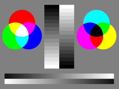 calibration: Monitor calibration color test chart with RGB, CMYK, 16-step grayscale and graduated grayscale
