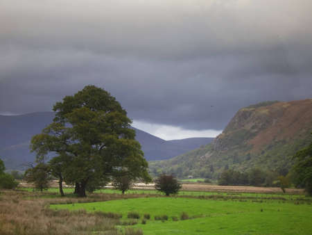 borrowdale: A view of the Borrowdale valley in the English Lake district in stormy weather Stock Photo
