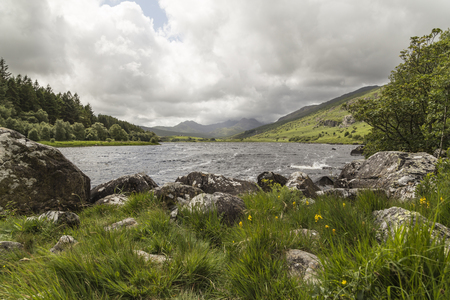 snowdonia: An image of the beautiful Llynnau Mymbyr lakes in the Snowdonia National Park, North Wales.