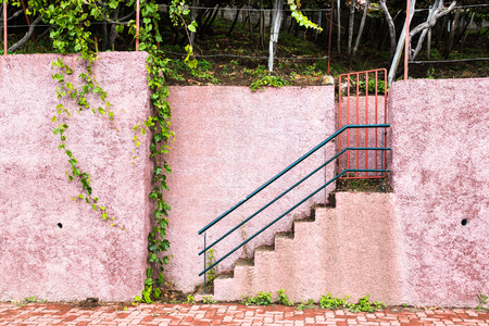Gate and stairs to the wine yard near by sidewalk in Madeira.